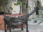 Goat sculpture crafted from old tools