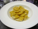 Monkfish ravioli with saffron sauce
