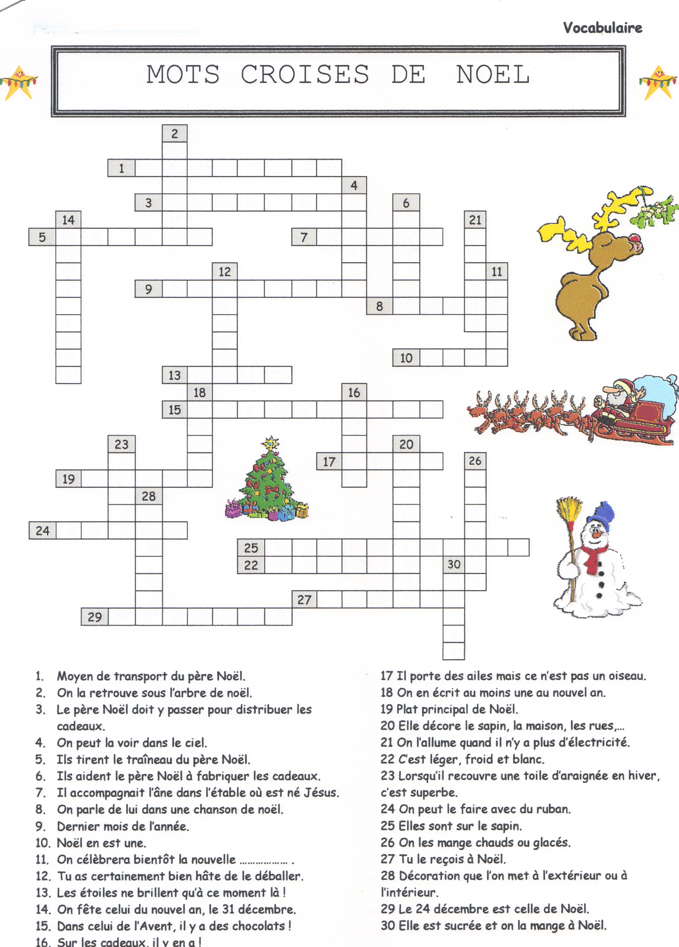 Mots croises de noel christmas crossword puzzle 24 7 in france - Mots coupes gratuits 2012 ...
