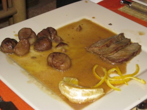 Magret de canard (duck) with orange sauce & chestnuts