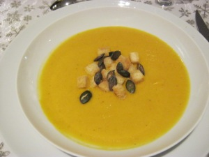 Pumpkin soup with croutons & pumpkin seeds