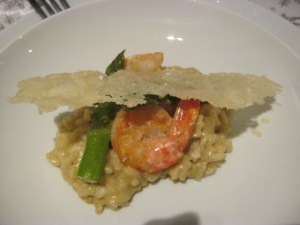 Risotto with shrimp, asparagus, and cheese straw