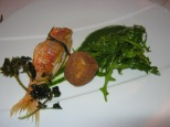 cooked rouget/red fish with nettle sauce