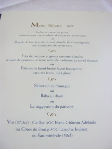 menu (wine included)